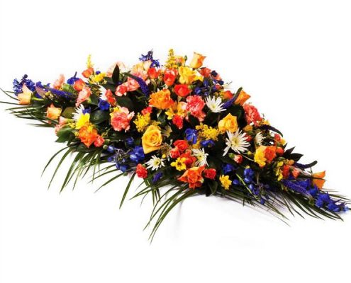 Colourful-Casket-SprayFloral arrangements above and beyond funerals