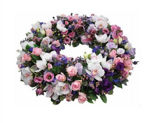 Pink-and-White-Wreath Floral arrangements above and beyond funerals