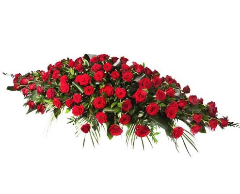 Red-Roses-Casket-Spray Floral arrangements above and beyond funerals