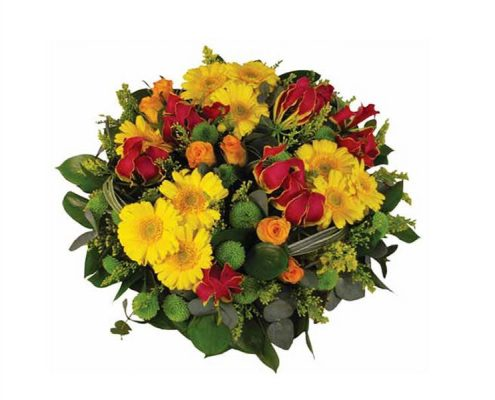 Yellow-and-Red-WreathFloral arrangements above and beyond funerals